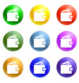 wallet money icons set vector image vector image