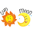 Sun and moon with happy face vector image