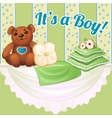 Decor baby cot with pillows and soft bear vector image