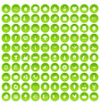 100 natural products icons set green circle vector image vector image