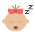 baby girl sleep flat icon child and infant vector image vector image