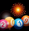 bingo lottery balls 2019 and fireworks vector image vector image