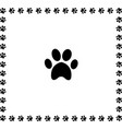 black animal pawprint icon framed with paw prints vector image vector image
