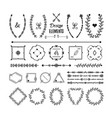 black floral banner emblems and icons set vector image vector image