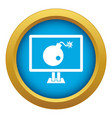 Bomb on computer monitor icon blue isolated