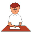boy doing paperwork on white background vector image