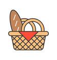 bread in picnic basket food set filled outline vector image vector image
