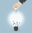 Businessman hand collecting light bulb of idea vector image vector image
