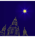 Christian christmas church with a Christmas star vector image
