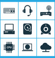 computer icons set collection of tree hdd vector image vector image
