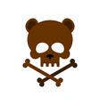 Cute bear skull with bones Honey bear good vector image