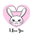 cute bunny with heart isolated on white background vector image vector image