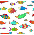 cute pattern with colorful cartoon aquarium fishes vector image