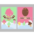 Flyers with ice cream and clouds vector image
