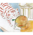 friendship cat and mouse eating fat in vector image vector image