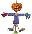 halloween scarecrow character cartoon vector image vector image