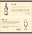 hand drawn beer bottle and glass landing page vector image vector image