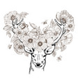 hand drawn realistic deer surrounded by flowers vector image