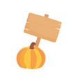 happy thanksgiving day wooden sign and pumpkin vector image vector image