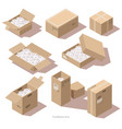isometric cardboard package boxes with filler vector image vector image