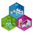 isometric modern dental practice dental chair and vector image vector image