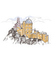 line art isolated portugal cintra castle sketch vector image