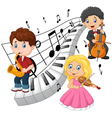 Little kids playing music with piano tone backgrou vector image vector image