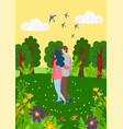 man and woman spend time together on nature vector image vector image
