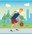 man practicing basketball character vector image