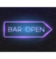 Neon Frame Vintage Bar Sign Icon vector image vector image