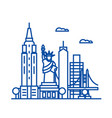 new york usa line icon concept new york usa flat vector image vector image
