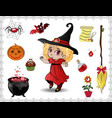 red halloween cartoon set of objects for witches vector image vector image