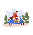 romantic couple riding a scooter young man vector image vector image