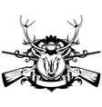 rossed guns and head of deer vector image vector image