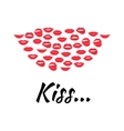 Set of glamour lips with red lipstick color vector image vector image