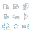 set of nfc icons featuring smartphone and bank vector image vector image