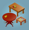set of the isometric cartoon table vector image
