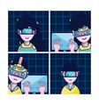 set of virtual reality cartoons vector image