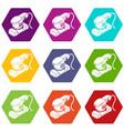 sheet sander icons set 9 vector image
