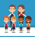 teacher school with children avatar character vector image vector image
