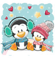 two cute penguins vector image vector image