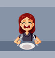 upset hungry girl waiting for dinner in a vector image vector image