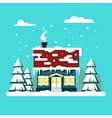 Winter cozy house with fits on blue background vector image vector image