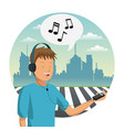 young man listen music vector image
