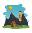 young man with guitar in camping zone vector image vector image