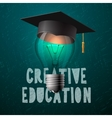 Creative education design bulb with mortarboard vector image