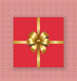 gold decorative bow top view gift present pink box vector image