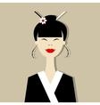 Asian woman portrait for your design vector image