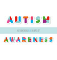 autism awareness puzzle letters paper cut out vector image