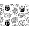 Black and white sushi and sashimi seamless pattern vector image